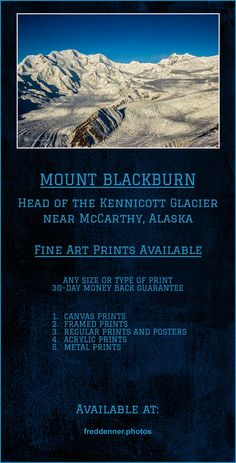 Early winter image of Mount Blackburn at the head of the Kennicott Glacier about 20 miles Northwest of McCarthy, Alaska.  │  alaska, alaskan mountains, alaska wilderness, mount blackburn, kennicott glacier, alaska glacier, rocks, snow, ice, glaciers, nature, landscape,alaska art prints,fred denner