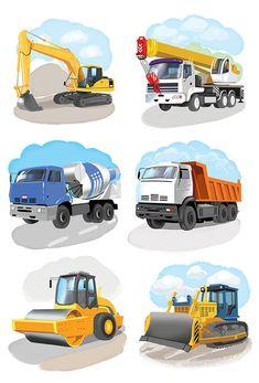 Сообщество иллюстраторов | Иллюстрация Любомир Бейгер - строительный транспорт. Детский. Растровая (цифровая) графика