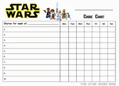 Lego Star Wars Free Printable Chore Chart #Lego #StarWars