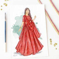 The very adorable @aditi_bhatia4 twirling away in a #chikankarilehenga lehenga by @bunaai ❤️... Dress Design Drawing, Dress Design Sketches, Fashion Design Sketchbook, Fashion Design Drawings, Dress Drawing, Art Sketchbook, Fashion Drawing Dresses, Fashion Illustration Sketches, Dress Illustration