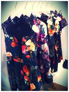 Winter florals on dreses, shirts and skirts for Autumn/Winter 12 at the Oasis Christmas Press Day.