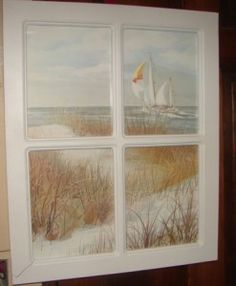 cute for a ocean bedroom. I just bought an old window and I am putting vintage hankies behind each pane! Super cool, if I do say so myself? :)