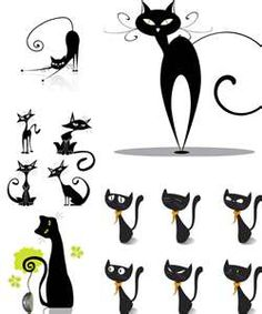 black cat vector collection of 5 sets with 13 nice vector black cat . Cat Clipart, Cat Vector, Vector Art, Vector Graphics, Black Cat Illustration, Illustration Vector, Cat Illustrations, Chat Web, Cat Embroidery