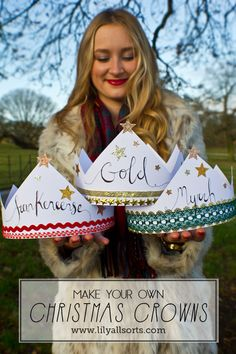 Wear instead of those awful cracker crowns OR use them as part of the Three Wise Men Nativity costumes! (We can probably use this instead of medals for games)