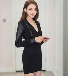 Wholesale price: US$ 14.00 Cheapest New Fashion Long-Sleeved V-neck Dress Black
