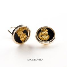 image 0 Clip On Earrings, Silver Earrings, Resin Jewelry, Unique Jewelry, Gold Foil, Black Gold, Studs, Cufflinks, Handmade Gifts