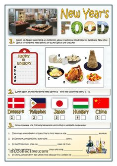 NEW YEARS FOOD - LISTENING English Resources, English Activities, English Lessons, Learn English, Listening English, English Reading, Teaching English, Cross Cultural Communication, Key Food