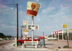The revolving bucket sign! Back when it was Kentucky Fried Chicken, NOT KFC!! {GM}