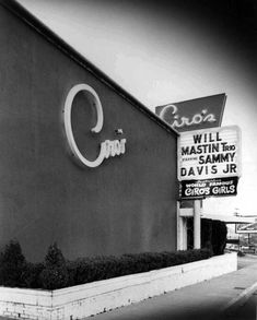 Ciro's Nightclub on the Sunset Strip on Sunset Blvd (in what is now the city of West Hollywood). From the evidence of the billing, this must be from sometime about For a while, even after Sammy went solo, the Will Mastin Trio still received billing. Hooray For Hollywood, Golden Age Of Hollywood, Vintage Hollywood, West Hollywood, Classic Hollywood, California History, California Dreamin', Los Angeles California, Vintage California
