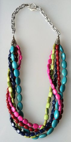Summer MultiColored Twist Necklace features Red by JNoelJewelry,***Like the idea of different shaped beads on the same necklace