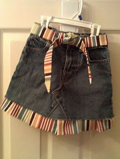 Another way to make old jeans into a new skirt for the girls.
