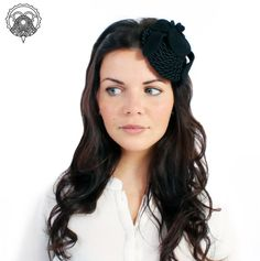 Black orchid fascinator hat by XeniaKuhn on Etsy, €80.00