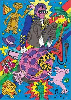 This illustration style Art And Illustration, Illustrations And Posters, Graphic Design Illustration, Psychedelic Art, Poster Design, Design Art, Psy Art, Hippie Art, Arte Pop