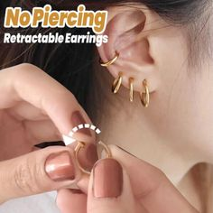 No Piercing Retractable Earrings - Lifestyle Piercings Monroe, Cute Ear Piercings, Cute Jewelry, Jewelry Accessories, Choses Cool, Looks Style, My Style, Buy 1 Get 1, Swag