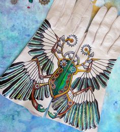 Steam Punk leather gloves Egyptian Scarab by gloryhounddesigns.