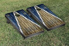 Cal State Monterey Otters Reclaimed Wood w/ Triangle Bag Toss Game Set