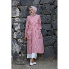 Striped tunic (New) Young Hijab Modest Fashion Hijab, Modern Hijab Fashion, Casual Hijab Outfit, Islamic Fashion, Abaya Fashion, Muslim Fashion, Fashion Outfits, Pink Outfits, Modele Hijab