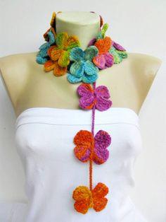 crochet lariat flower scarf by SenasShop on Etsy