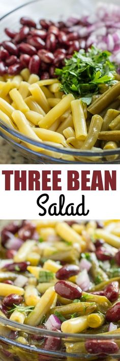 This classic Three Bean Salad recipe is a favorite side dish at parties. Use fresh beans if you can find them, but canned beans are easy to find and work just as well!