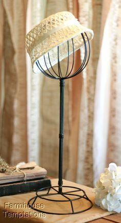 BLACK HAT STAND Store RACK Wig DISPLAY Shabby VINTAGE Chic METAL Wire IRON Form in Collectibles, Advertising, Merchandise & Memorabilia | eBay