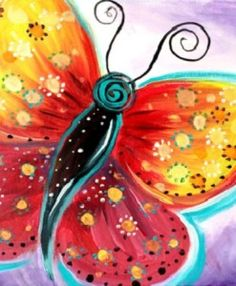 Paintingparties.com free video lessons Fuschia Flutter Painting Party