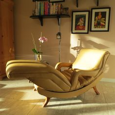 RESERVED   Mid Century Modern Contour Lounge Chair   Reclining Massage Chair    Recliner   Gold Design Inspirations