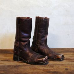 Motorcycle  70s Vintage Leather Boots  Mens 8 / by 86Vintage86, $178.00
