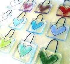 Fused glass love heart hanger wedding favour stocking filler Christmas gift £2.49