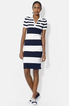 Lauren Ralph Lauren Stripe Cotton Polo Dress available at #Nordstrom