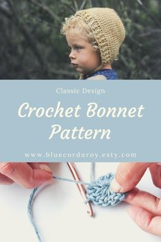A fun weekend project, great for handmade baby gifts! Blue Corduroy Blue Corduroy bluecorduroy Knit and Crochet Hats Classic Crochet Baby Bonnet Patte Baby Bonnet Pattern, Crochet Baby Bonnet, Baby Hat Knitting Pattern, Baby Hat Patterns, Baby Girl Crochet, Baby Hats Knitting, Easy Crochet Patterns, Crochet Hats, Beanie Pattern