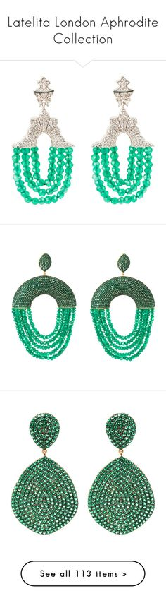 """""""Latelita London Aphrodite Collection"""" by latelita on Polyvore featuring jewelry, earrings, white tassel earrings, earring jewelry, green onyx jewelry, post back earrings, cubic zirconia jewelry, post earrings, black gold earrings and oxidized jewelry"""