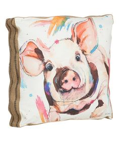 Fabric ticking on edges! Look what I found on #zulily! Watercolor Pig Pillow #zulilyfinds