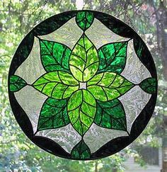 Green Leaves Stained Glass Suncatcher   Flickr - Photo ...