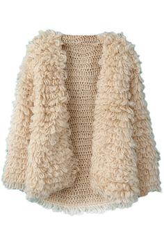Khaki Long Sleeve Shaggy Slim Cardigan Sweater