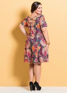 Vestido Evasê Marguerite Mix Floral Plus Size - Marguerite