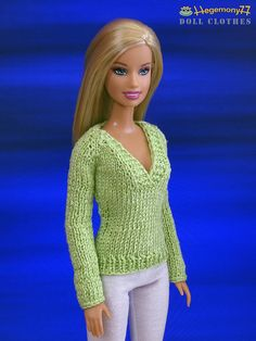 Crochet Toy Barbie Clothes Barbie doll in green v neck hand knitted sweater Barbie Knitting Patterns, Barbie Clothes Patterns, Crochet Barbie Clothes, Clothing Patterns, Barbie Dress, Barbie Doll, Barbie Wardrobe, Hand Knitted Sweaters, Knitted Dolls