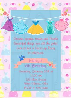 Dress Up Invitation Birthday Party-Digital by graciegirldesigns77