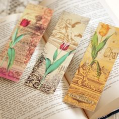 Print your own set of 3 vintage inspired flower bookmarks.