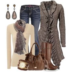 Autumn Colors Ruffled Cardigan, created by smores1165 on Polyvore