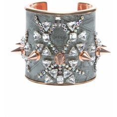 Bijoux De Famille Punk Opera Cuff (£370) ❤ liked on Polyvore featuring jewelry, bracelets, accessories, grey, studded cuff bracelet, bracelet bangle, cuff jewelry, cuff bangle and spike cuff bracelet