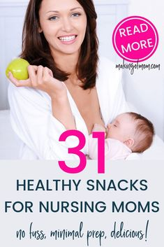 Breastfeeding is hungry work, but nursing moms often don't have time to eat. Here are 31 healthy snack ideas that take minimal prep time, some are make ahead, and some are store bought! Breastfeeding And Pumping, Third Baby, Baby Arrival, All Family, After Baby, Pregnant Mom, First Time Moms, Baby Hacks, Baby Tips