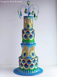 Peacock cake www.tablescapesbydesign.com https://www.facebook.com/pages/Tablescapes-By-Design/129811416695