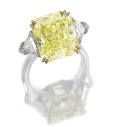 Harry Winston, Fancy yellow diamond ring, 11.05 cts
