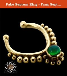 Fake Septum Ring - Faux Septum Ring - Fake Septum Piercing - Clip On Piercing - Clip On Septum - Septum Jewelry - Septum Cuff - Nose Jewelry. New and beautifully fake septum made of brass and set with a green onyx. Inner ring: 8mm Length: 13mm Width: 11mm Nickel Free! ~~~~ How to use the septum Correctly ~~~~ In order of taking care of your new septum, it's important to bend it to the sides (never up) as little as possible when putting it on and off. ~~~~ How to clean the septum?…