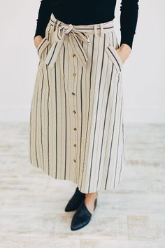 Taupe + Black Stripe Midi Skirt Working Ties at Waist w/ Belt Loops Slanted Side Pockets View Size Chart Model is + Wearing a Small Cotton Outfits Jeans, Skirt Outfits Modest, Casual Outfits, Cute Outfits, Midi Skirt Outfit Casual, Maxi Dresses, Skirt Midi, Dress Skirt, Modest Fashion