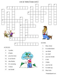 Fun practice for those E to IE stem-changing Spanish verbs!  This puzzle is FREE from PrintableSpanish.com and comes with an answer key!
