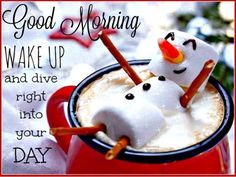 Similar Images, Stock Photos & Vectors of Red mug with hot chocolate with melted marshmallow snowman - 339813524 Good Morning Winter, Good Morning Christmas, Good Morning Coffee, Good Morning Good Night, Morning Wish, Good Morning Quotes, Morning Memes, Night Quotes, Melting Chocolate