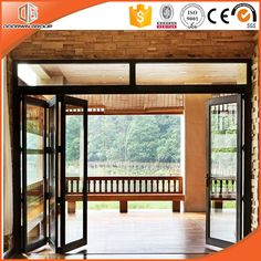 Veranda Accordion Door with Wood Grain Surface