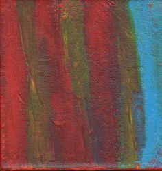 Contemporary Abstract Painting 4 x 4 Artist with Autism Red Yellow Blue Wall Decor Art Outsider