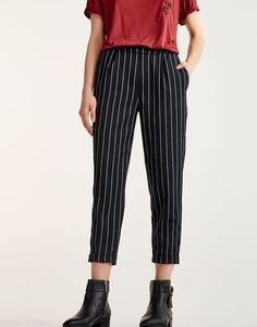 Striped tailored joggers - New - Woman - PULL&BEAR Israel #FitnessFemme